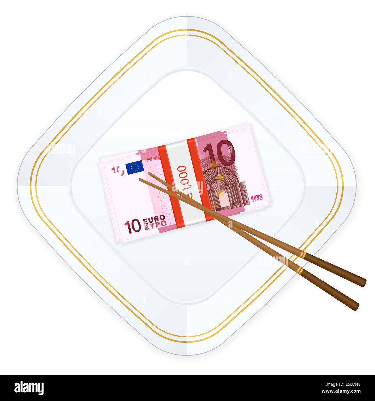 Plate, chopsticks and euro banknotes pack on a white background. Stock Photo