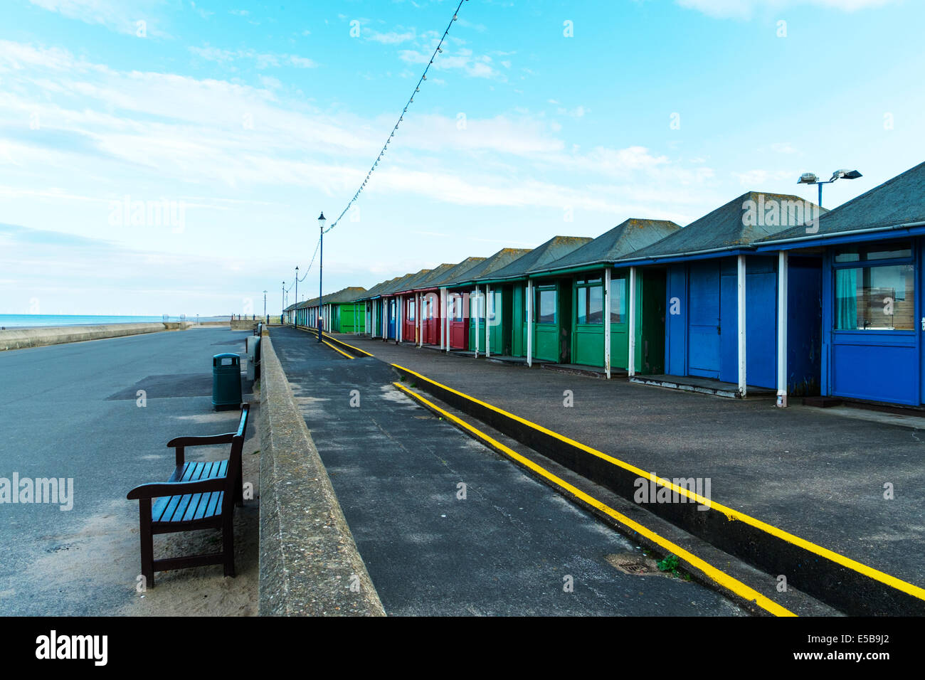 Sutton On Sea Chalets beach changing rooms wooden shacks buildings Lincolnshire UK England Beach, Huts, Coast, Sandilands, - Stock Image
