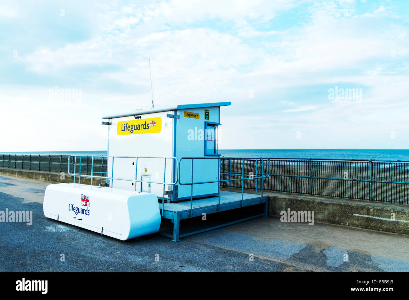 Sutton On Sea Lifeguards lifeguard station lookout hut beach wooden shack building Lincolnshire UK England - Stock Image