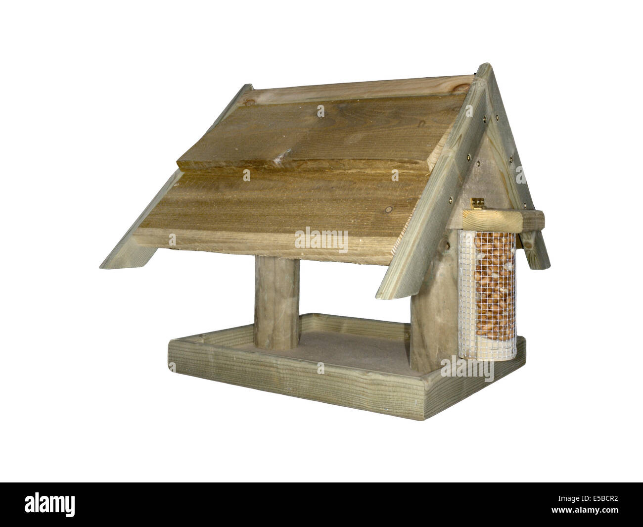 Wooden Bird Table. A common design for feeding garden birds. - Stock Image