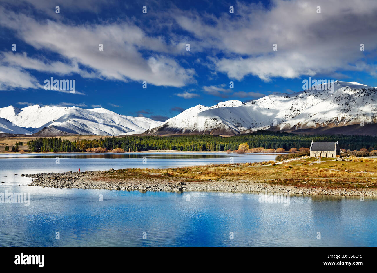 Lake Tekapo and Church of the Good Shepherd, New Zealand - Stock Image