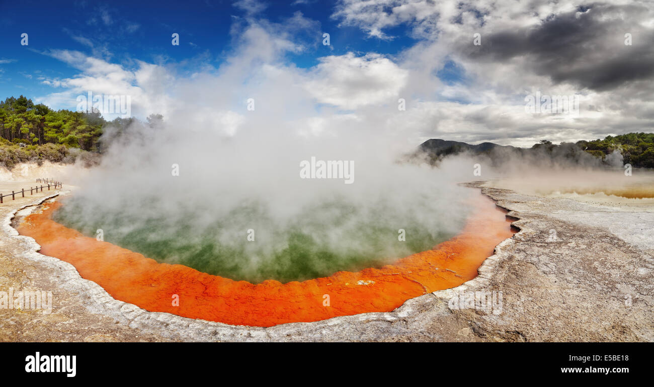 Champagne Pool in Waiotapu Thermal Reserve, Rotorua, New Zealand - Stock Image
