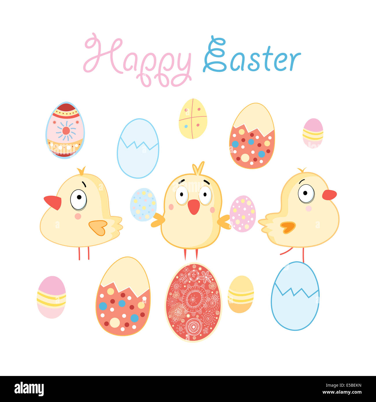 Easter card with funny chickens and eggs - Stock Image
