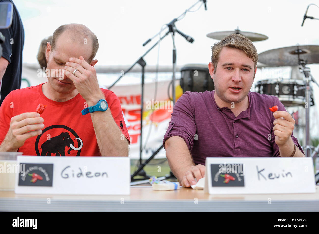 Bushey, Hertfordshire, UK, 27 July 2014 - The Awesome Hertfordshire Chilli Fiesta 2014 attracted chilli loving visitors. - Stock Image
