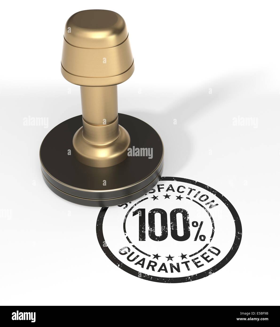 Satisfaction 100% Guaranteed Rubber Stamp - Stock Image