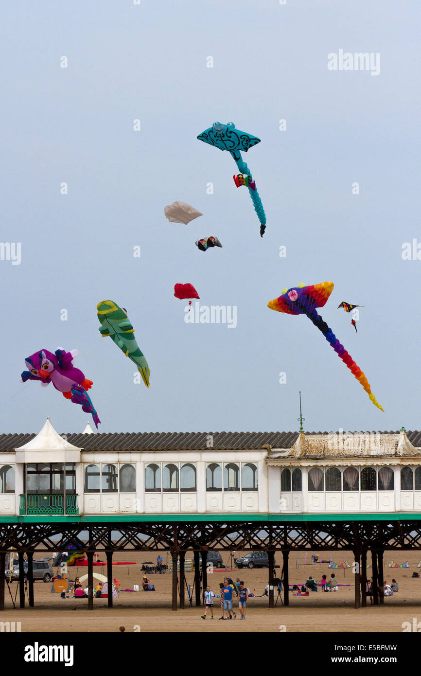 Lytham St Annes, Blackpool, 26th July, 2014. St. Annes kite festival.  The skies above St Annes seafront were awash - Stock Image