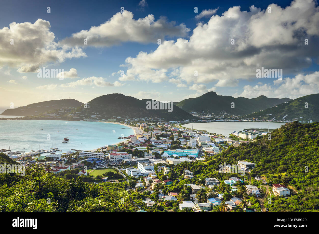 Philipsburg, Sint Maarten at the Great Salt Pond. - Stock Image