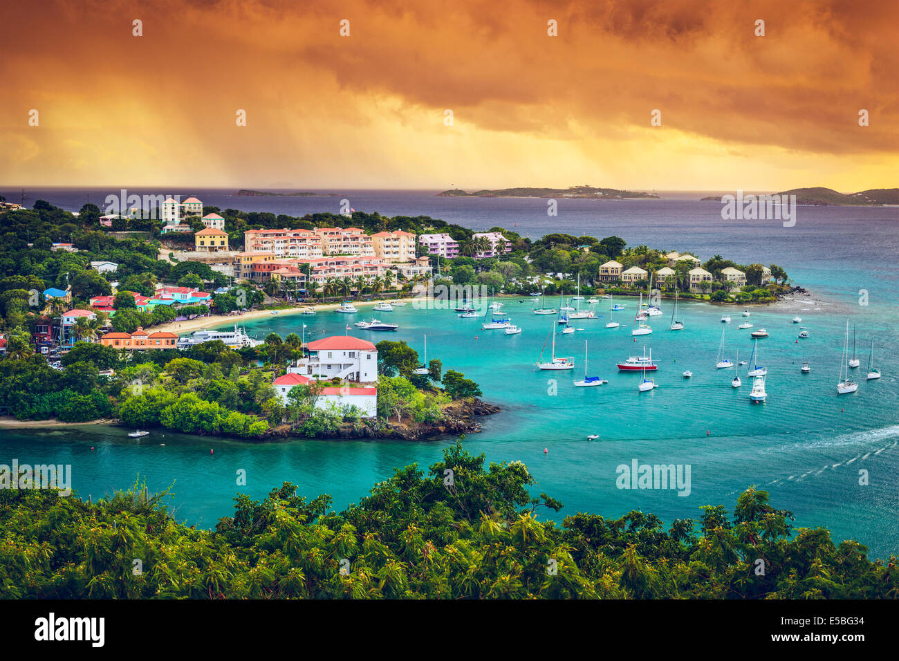 St. John, US Virgin Island at Cruz Bay. - Stock Image