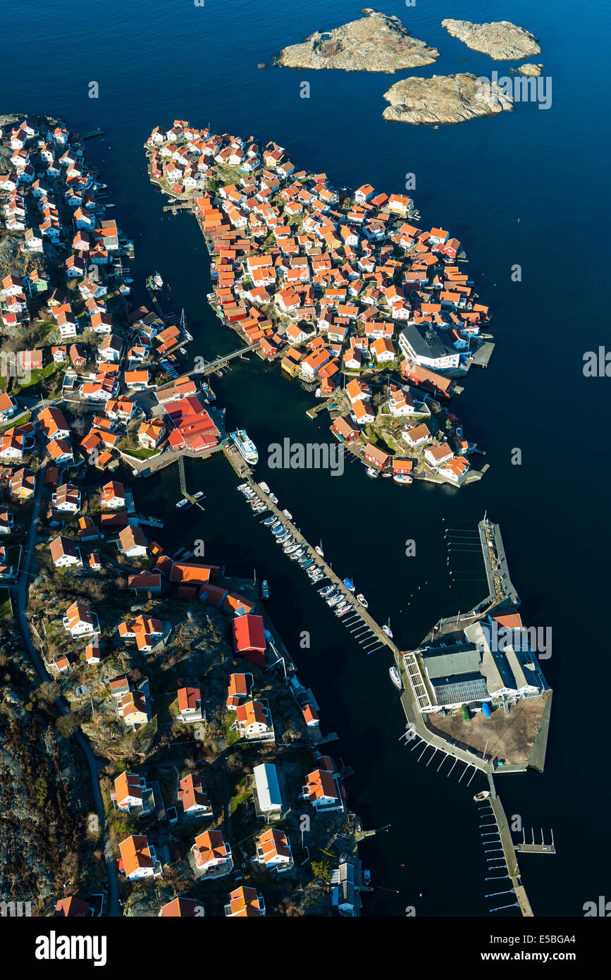 Aerial view of Orust village, Sweden - Stock Image