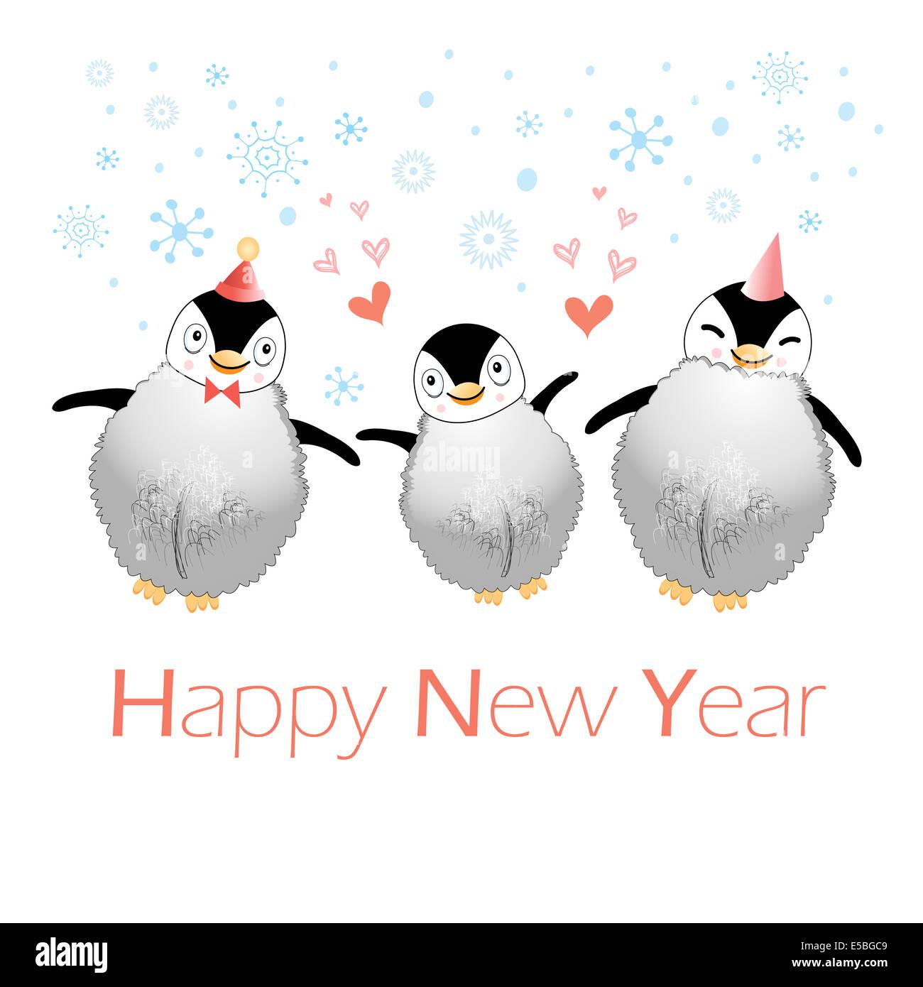Funny Christmas Card Penguins On Stock Photos Funny Christmas Card