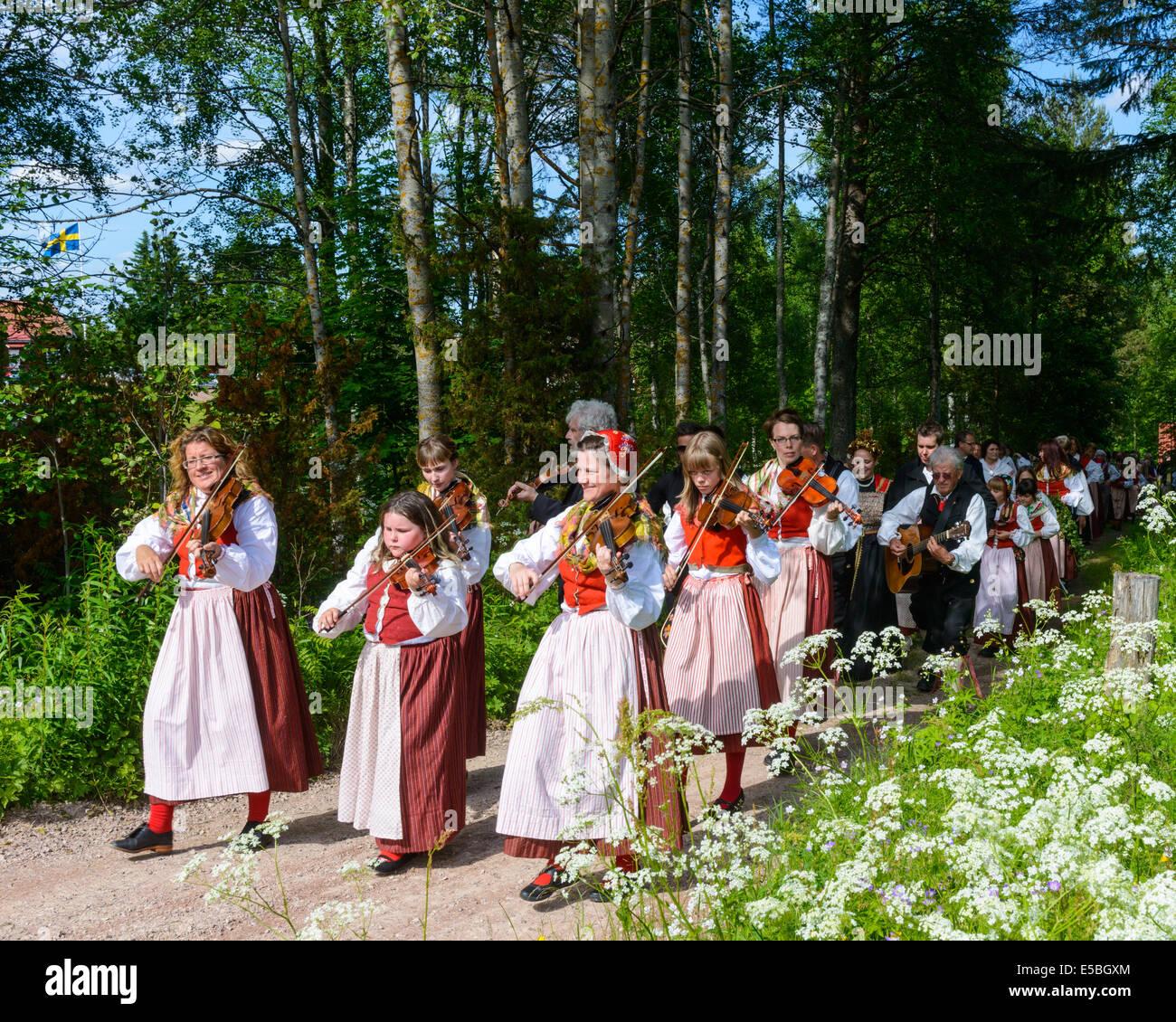 Midsummer celebrations, Sweden - Stock Image