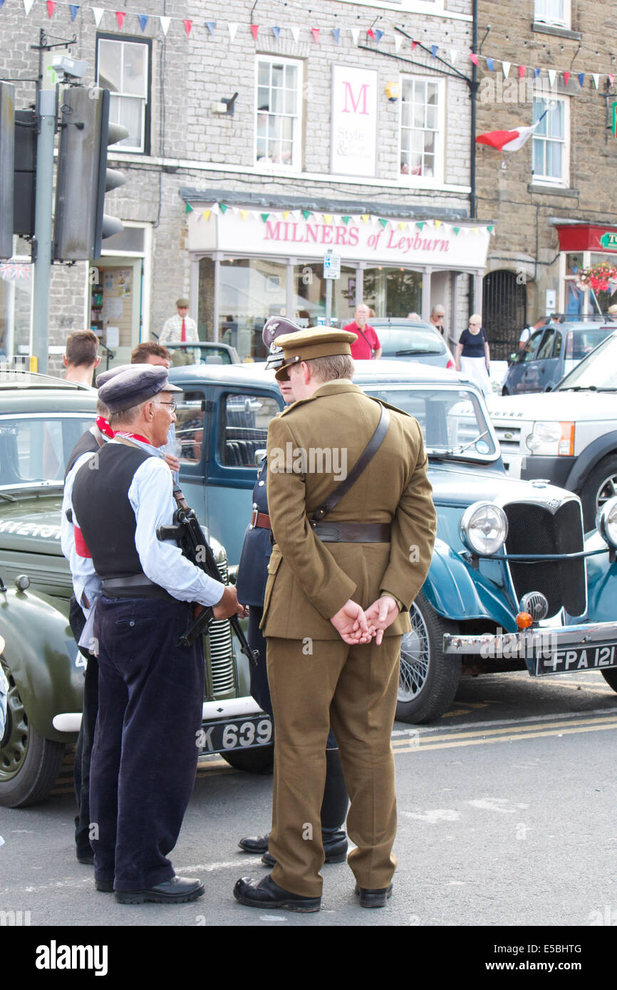 Leyburn UK 26th July 2014 1940s Weekend Is A Themed Based On Typical English Town In The People Dress Clothes And