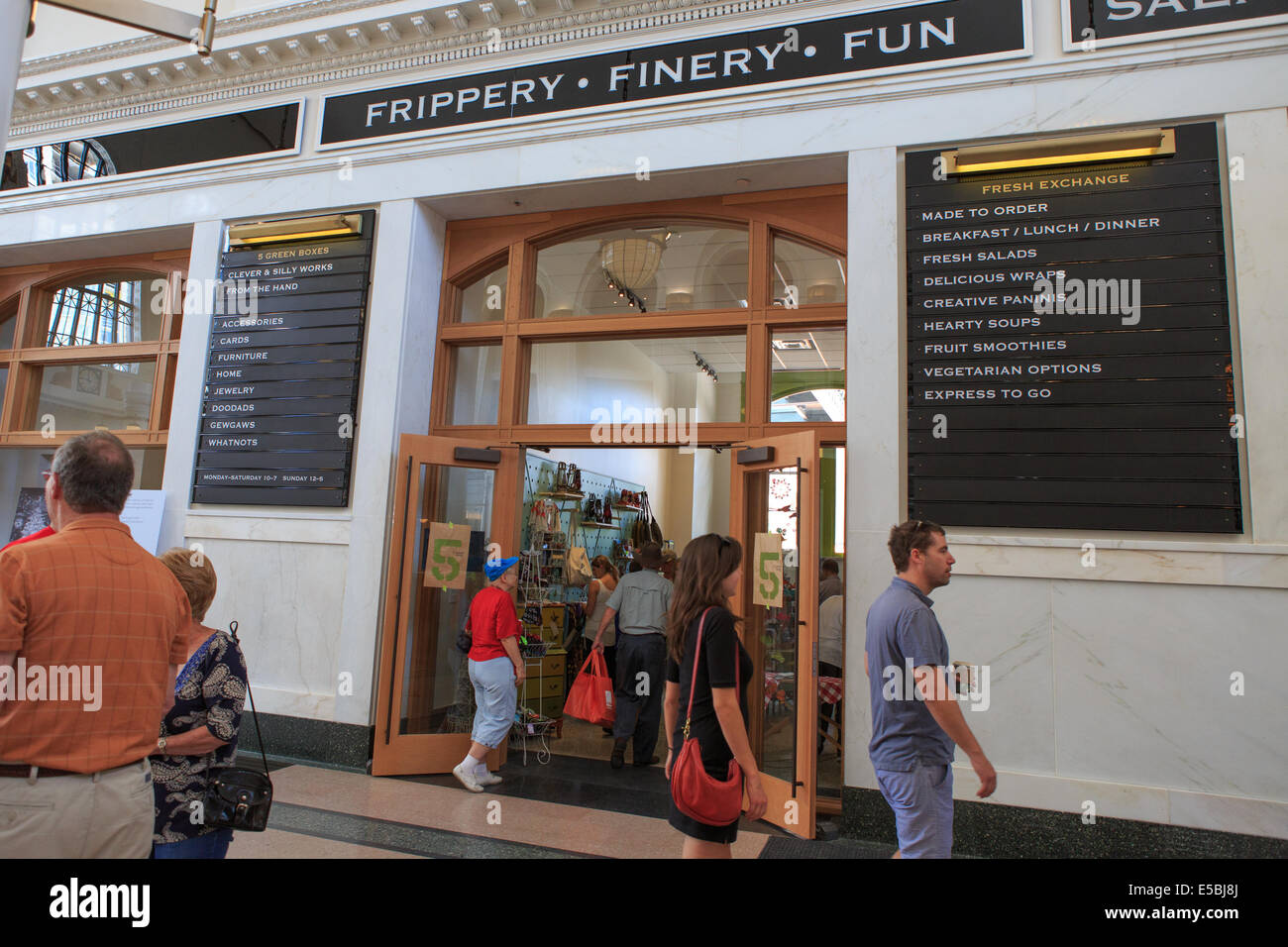 Denver Colorado USA - 26th July 2014. Customers peruse the various boutiques within Union Station during the grand - Stock Image