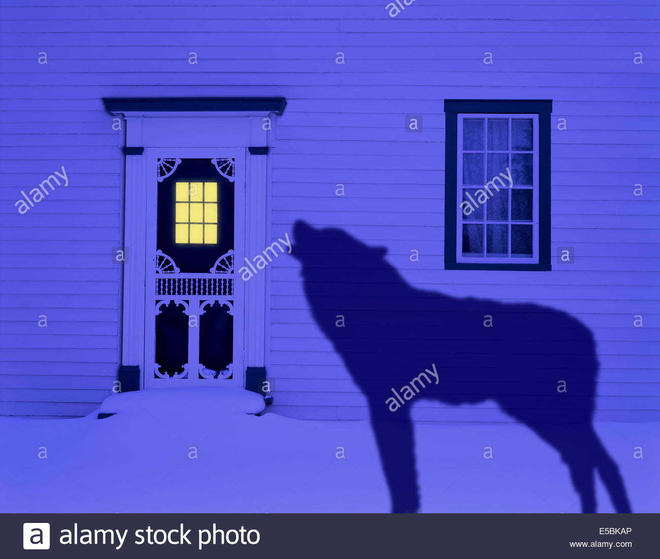 Photo illustration of a proverbial wolf at the door in winter howling to come inside. & Door Illustration Stock Photos \u0026 Door Illustration Stock Images - Alamy