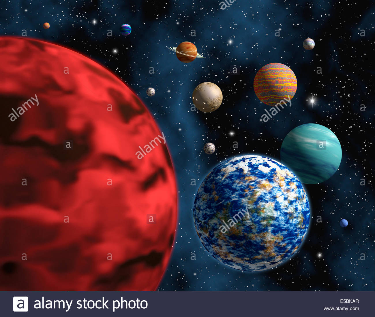 Illustration Of A Group Generic Not Real Planets In Space