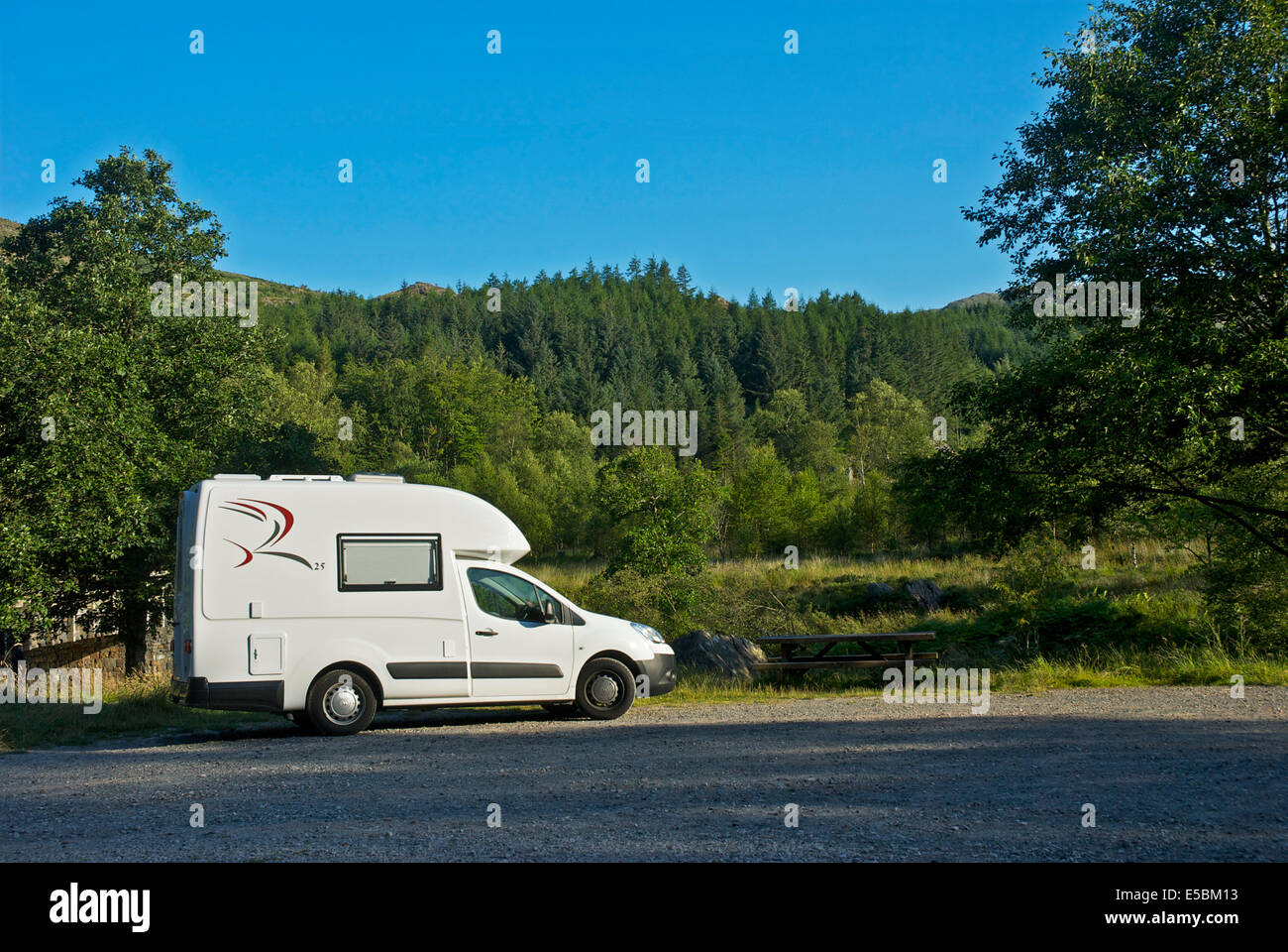 Romahome R25 parked in the Duddon Valley, Lake District National Park, Cumbria, England UK - Stock Image