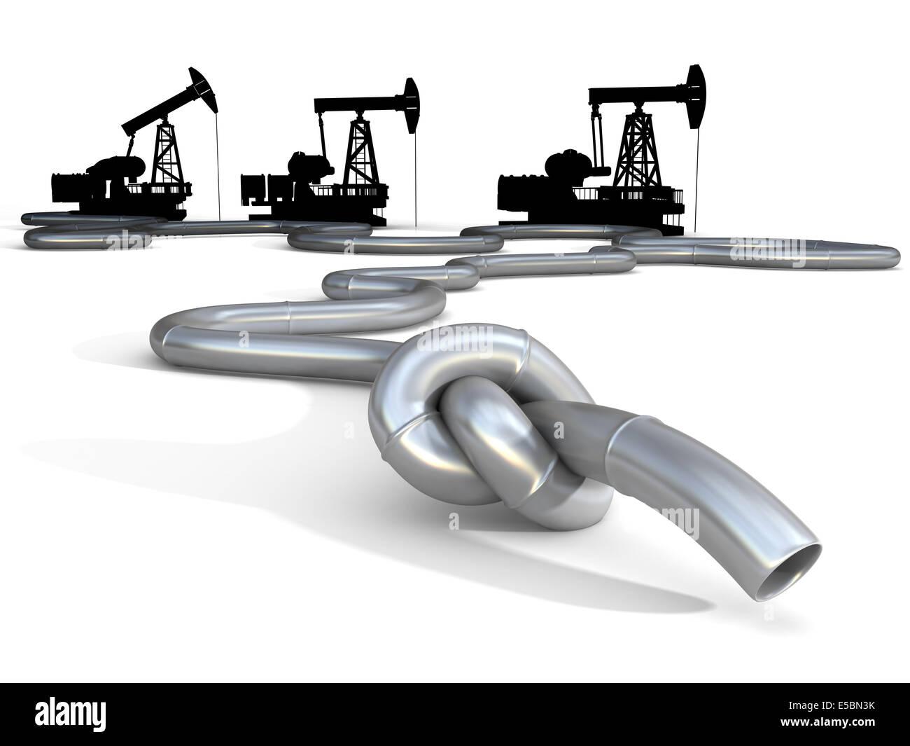 The oil crisis. Knot on oil pipeline, conceptual business, politics illustration - Stock Image