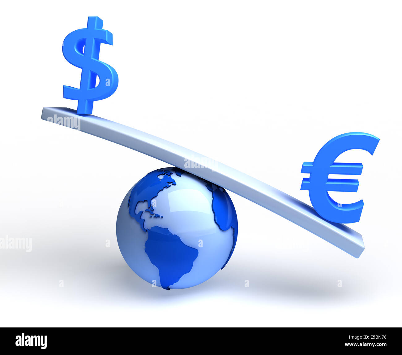 Dollar and euro on global teeterboard. Conceptual illustration - Stock Image