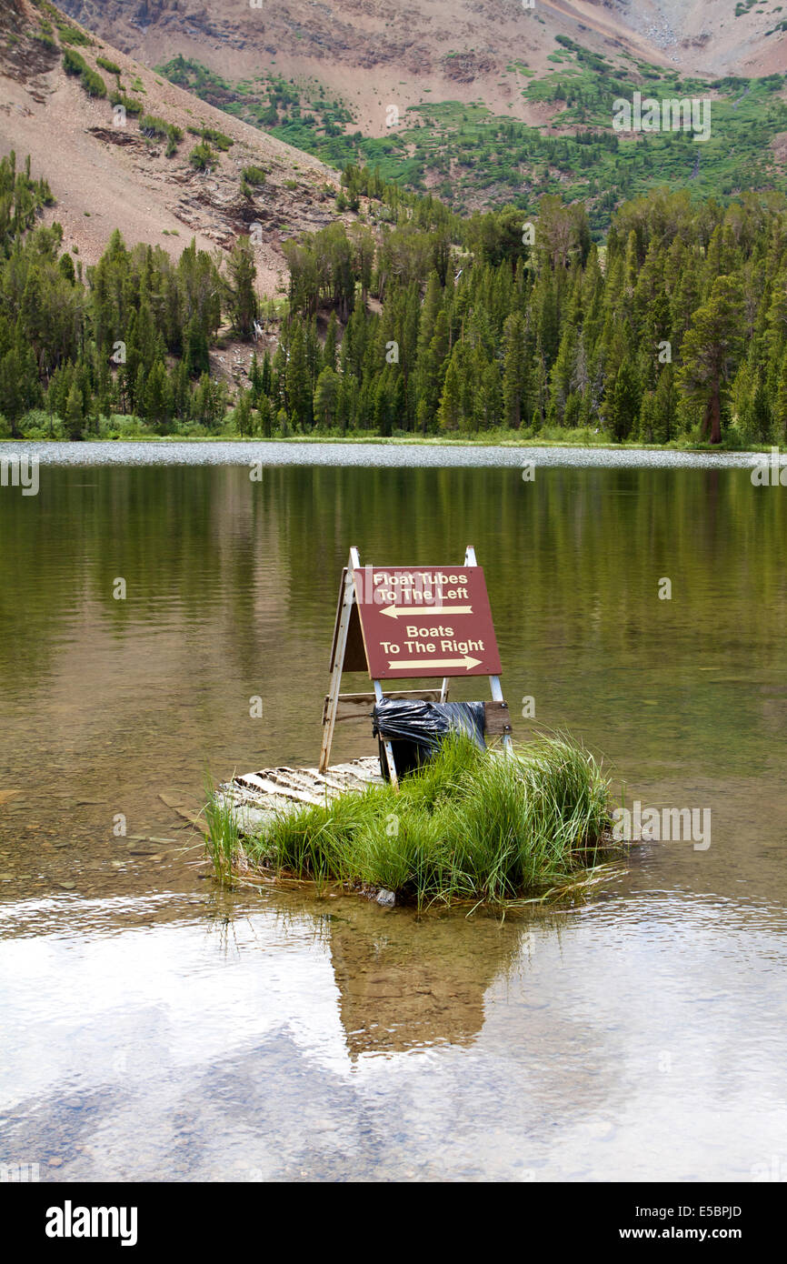 Boat and float tube launch at Virginia Lakes resort of the Toiyobe national forest In The Sierra Nevada mountains Stock Photo