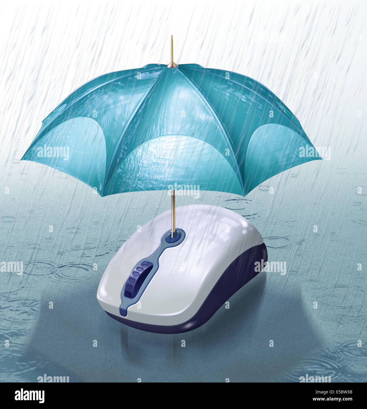 Illustrative image of umbrella covering computer mouse from rain representing online insurance - Stock Image