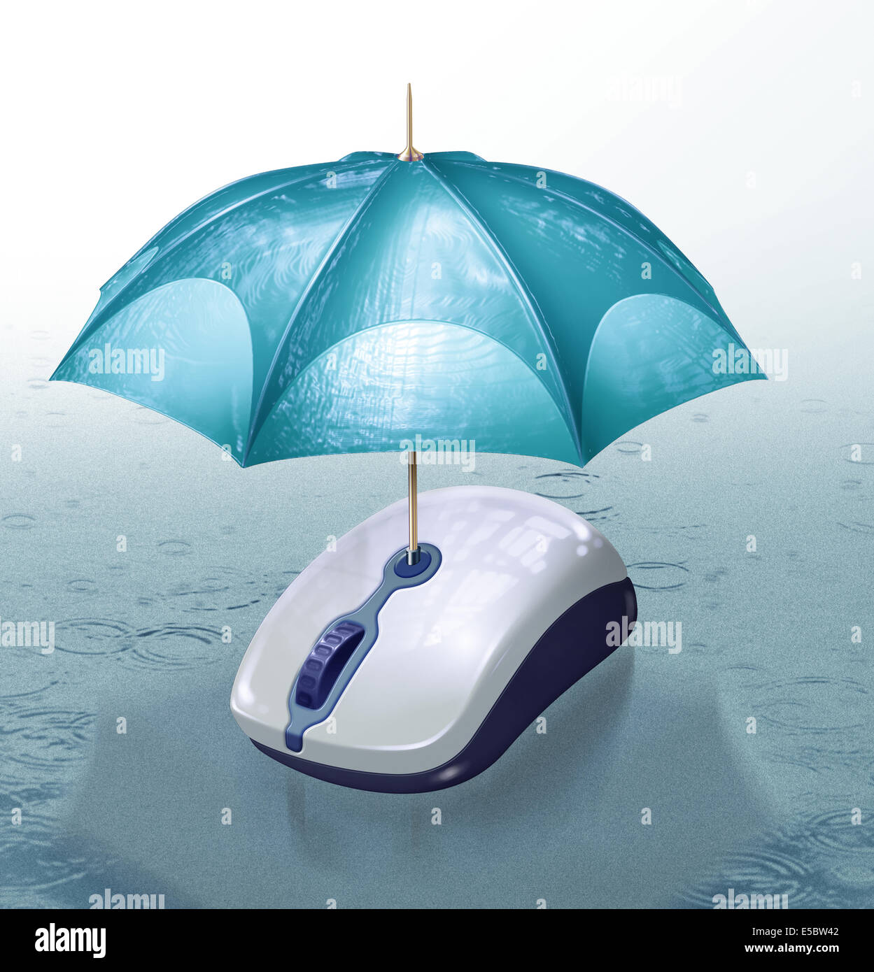 Illustrative image of umbrella covering computer mouse representing online insurance - Stock Image