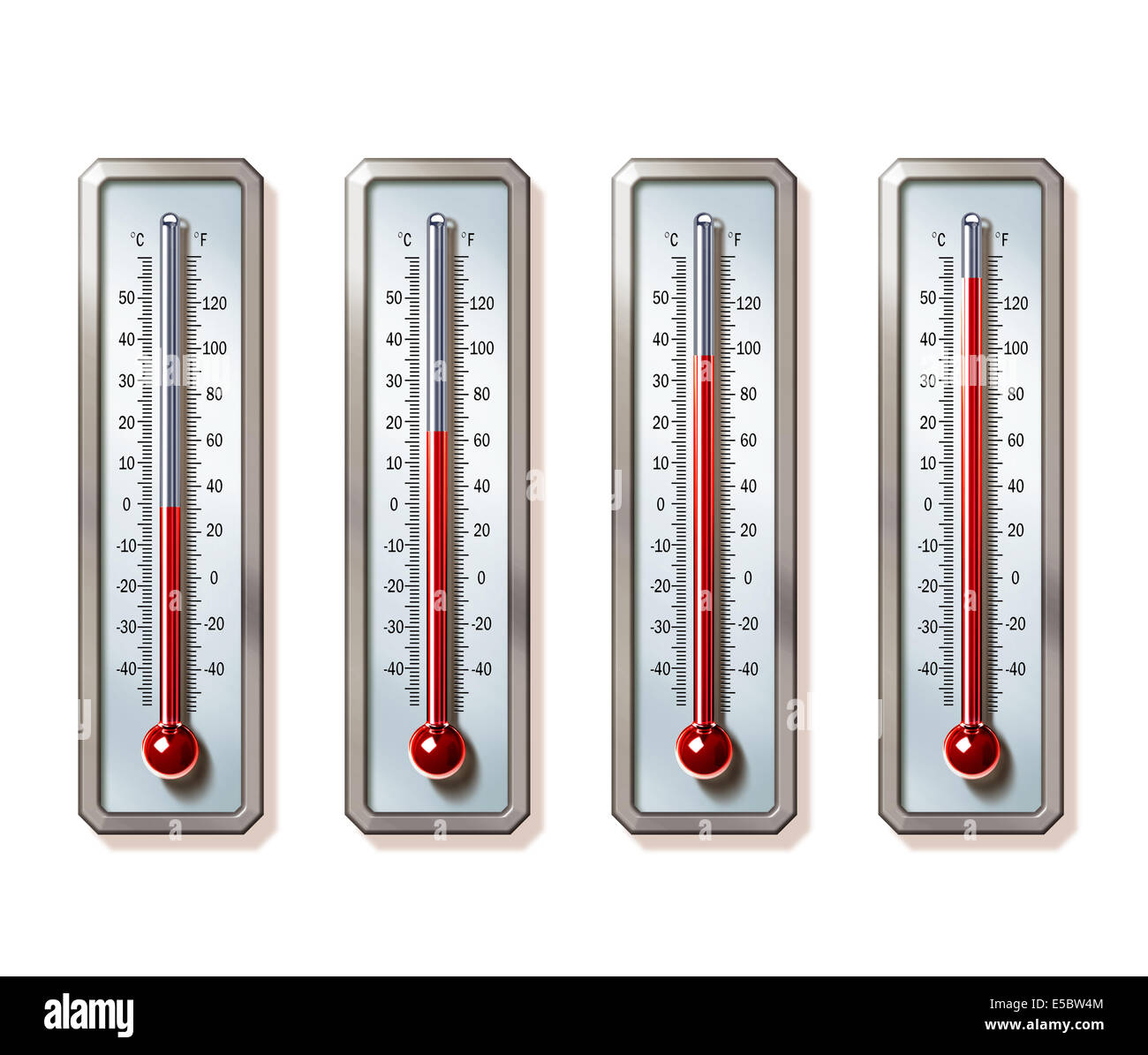 Illustrative image of thermometers showing rising temperatures over white background representing global warming - Stock Image