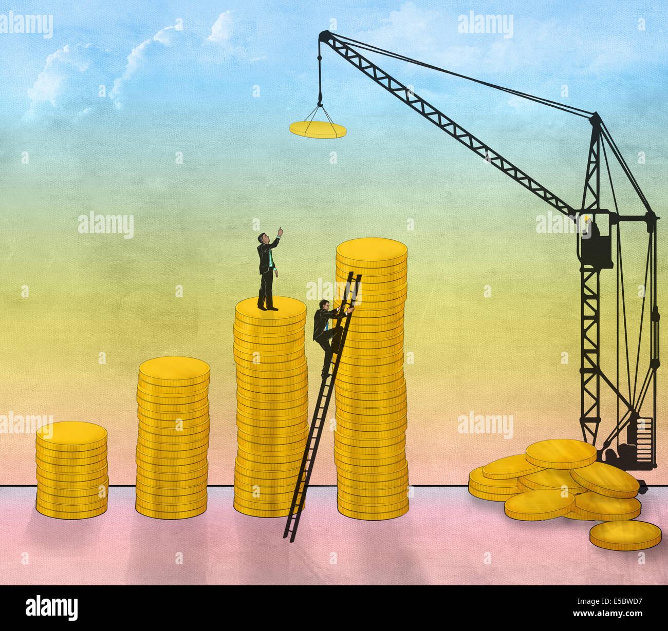 Illustrative image of businessmen constructing coin bar graph representing business development - Stock Image
