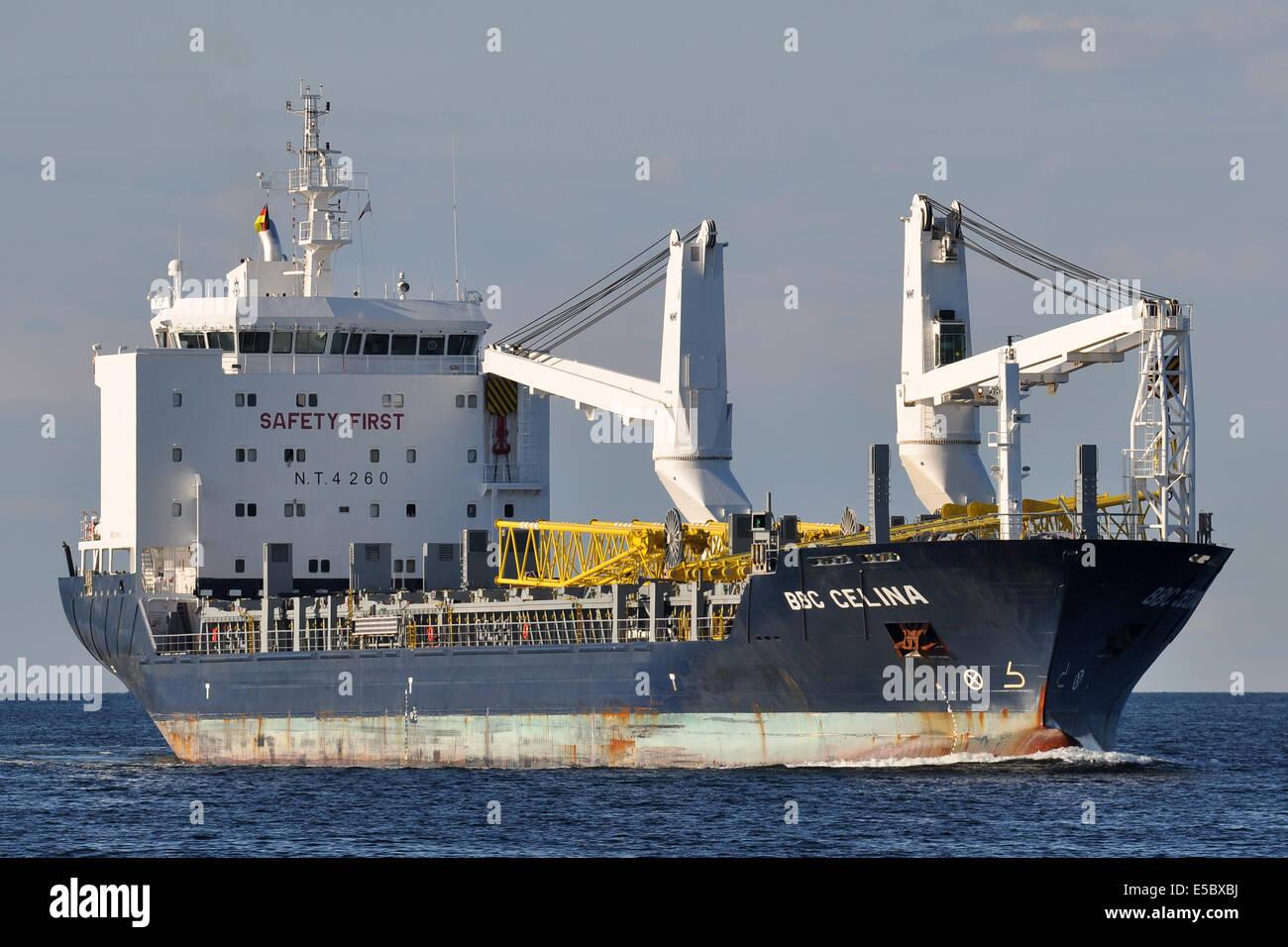 General cargo vessel BBC Celina inbound Kiel Fjord - Stock Image