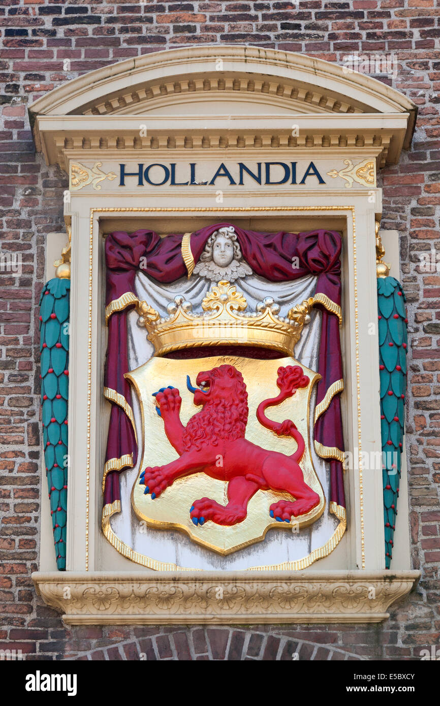 Dutch coat of arms on exterior wall in The Hague, Holland - Stock Image