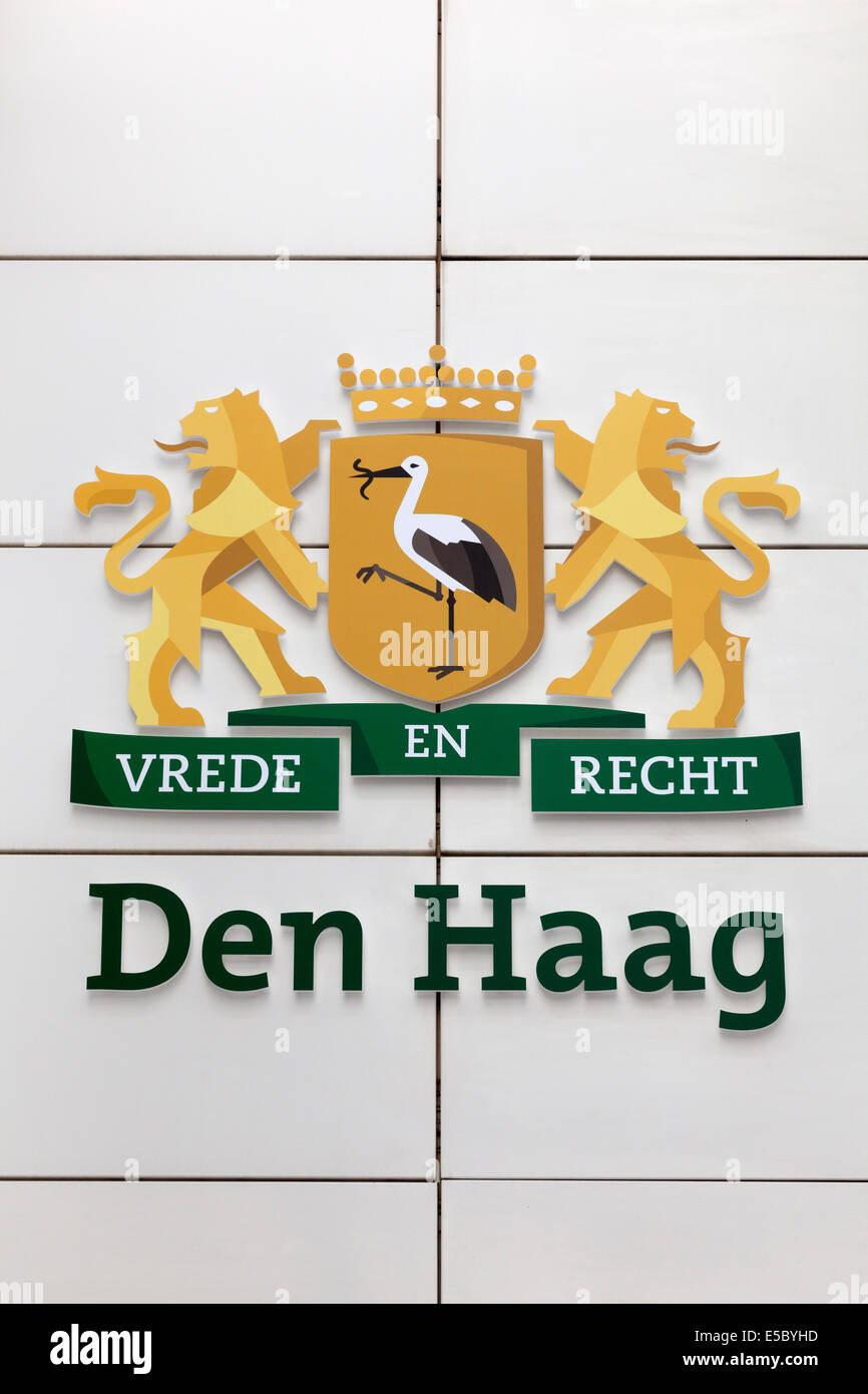 Coat of arms Piece and Justice at the townhall in The Hague, Holland - Stock Image