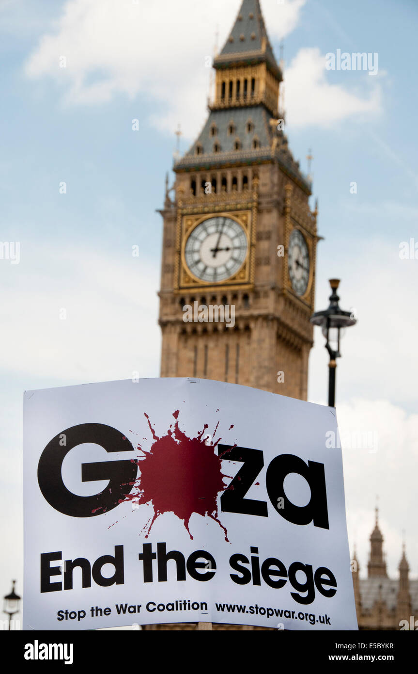 Demonstration against bombing of Gaza. A placard of the word Gaza splattered with blood, designed by artist David - Stock Image
