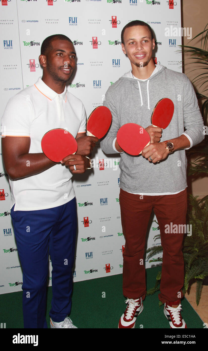 fb88086cf2fd Professional basketball players Chris Paul and Stephen Curry attend the second  annual Topspin Charity Ping Pong Tournament presented by Hyndai on July 26