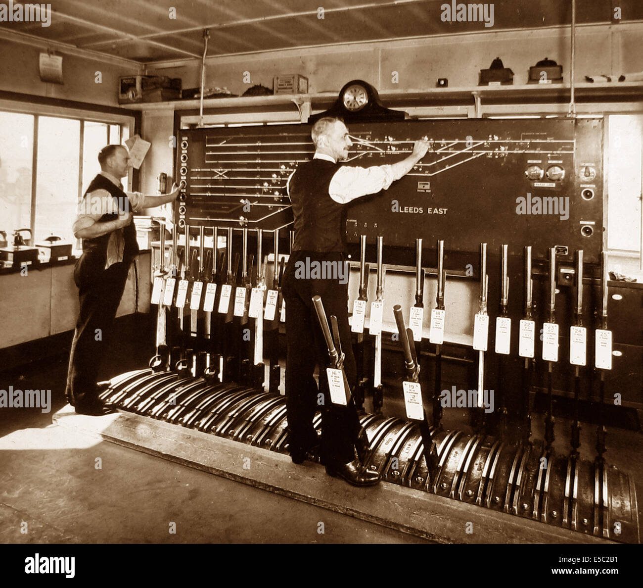 Leeds East Signal Box possibly 1930s - Stock Image