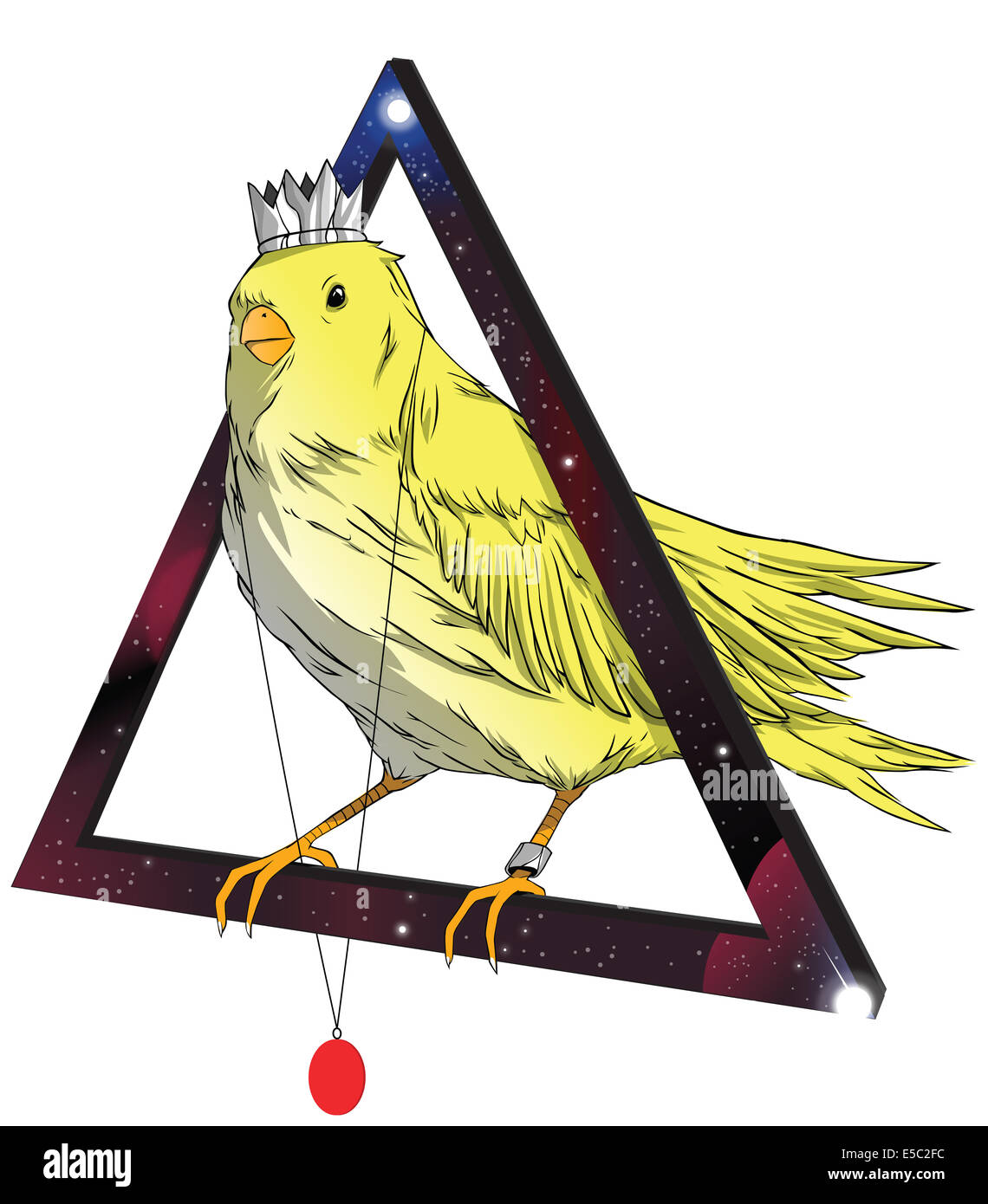 Illustration of bird wearing crown and locket standing on triangle against white background - Stock Image