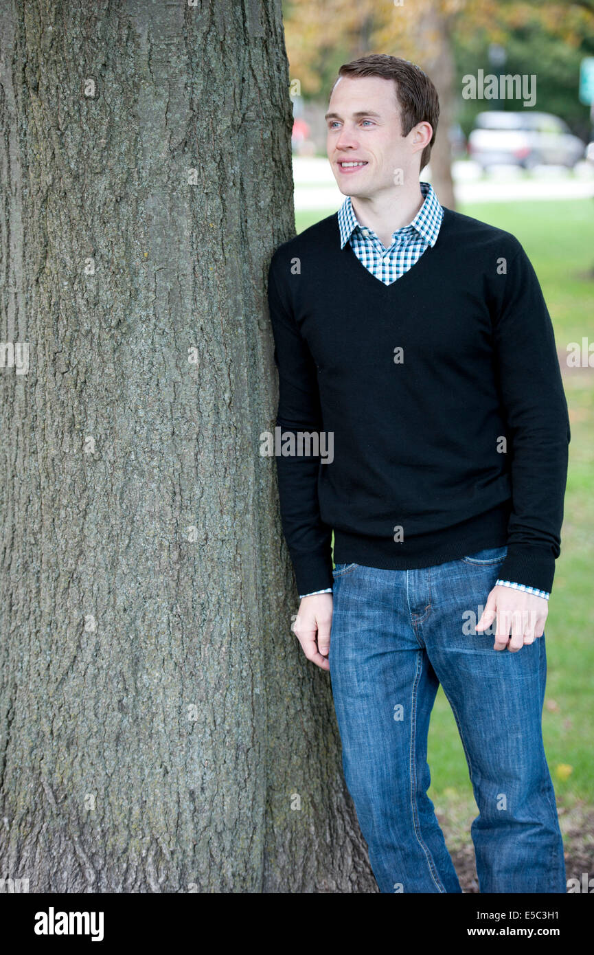 An Attractive Fashionable And Young Male Model Posing Outdoors On A Stock Photo Alamy