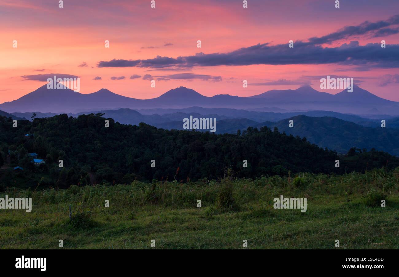 The Virunga Mountains at dawn Uganda. - Stock Image