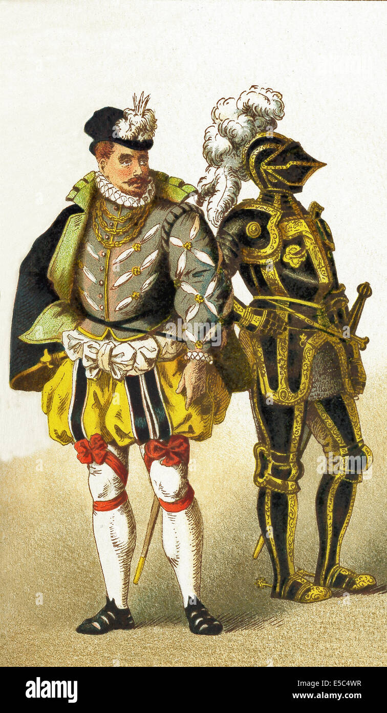 The figures in this illustration represent Germans from 1550 to 1600. They are, from left to right: a nobleman and - Stock Image