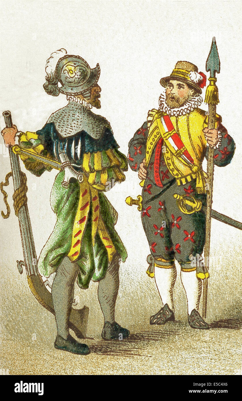 The figures in this illustration show Germans between 1550 and 1600. They are, from left to right: soldier and armed - Stock Image