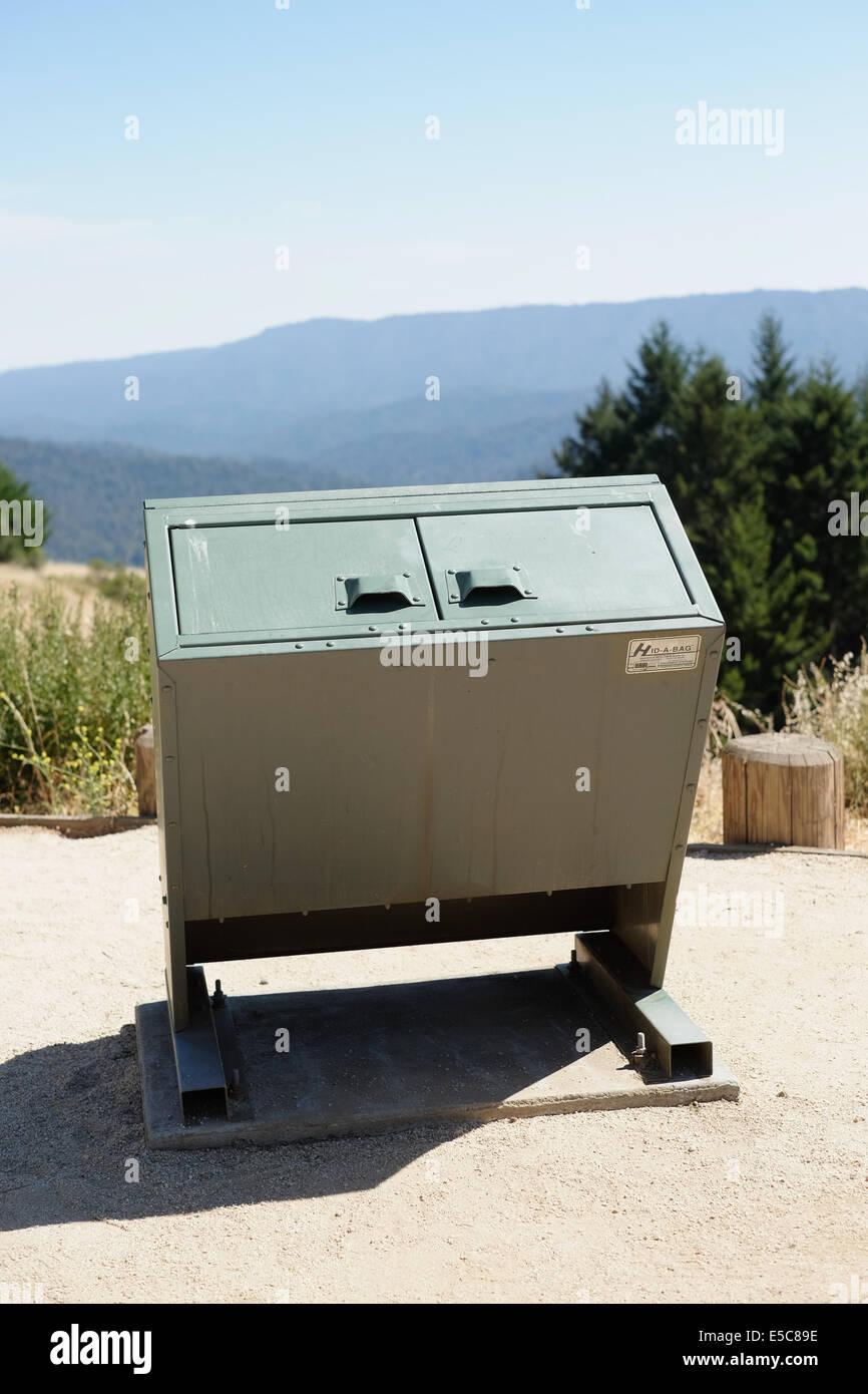 Bear safe trash receptacle. Bear safe trash can. - Stock Image