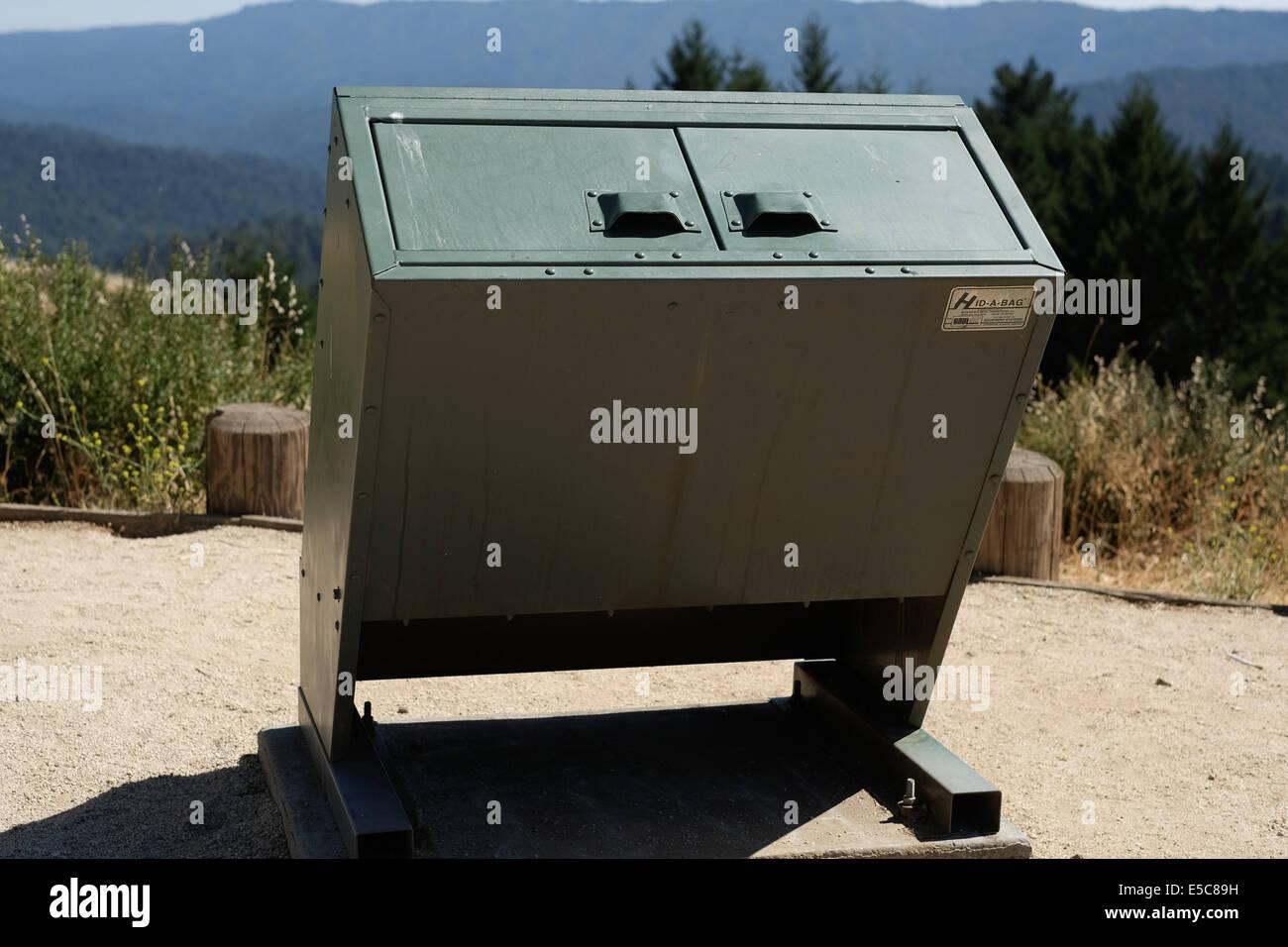 Bear safe trash receptacle. Bear safe trash can. Stock Photo