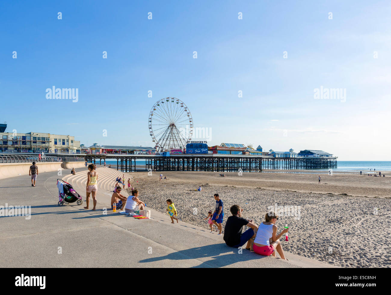 Beach and Central Pier in the late afternoon, The Golden Mile, Blackpool, Lancashire, UK - Stock Image