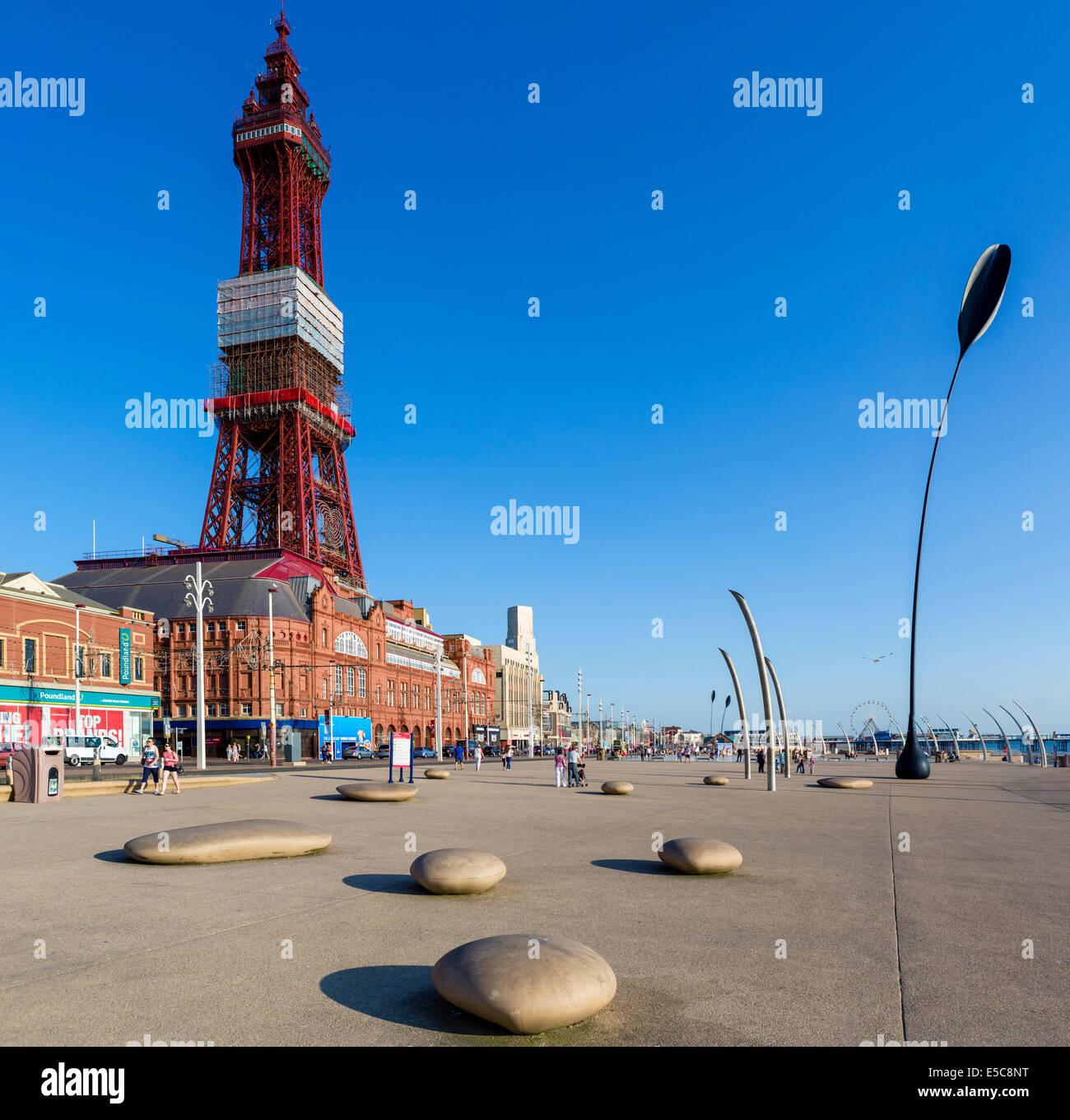 The seafront promenade outside Blackpool Tower, The Golden Mile, Blackpool, Lancashire, UK - Stock Image