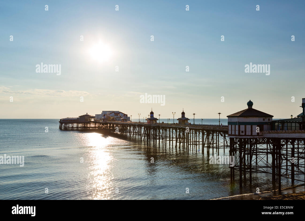 North Pier just before sunset, The Golden Mile, Blackpool, Lancashire, UK - Stock Image