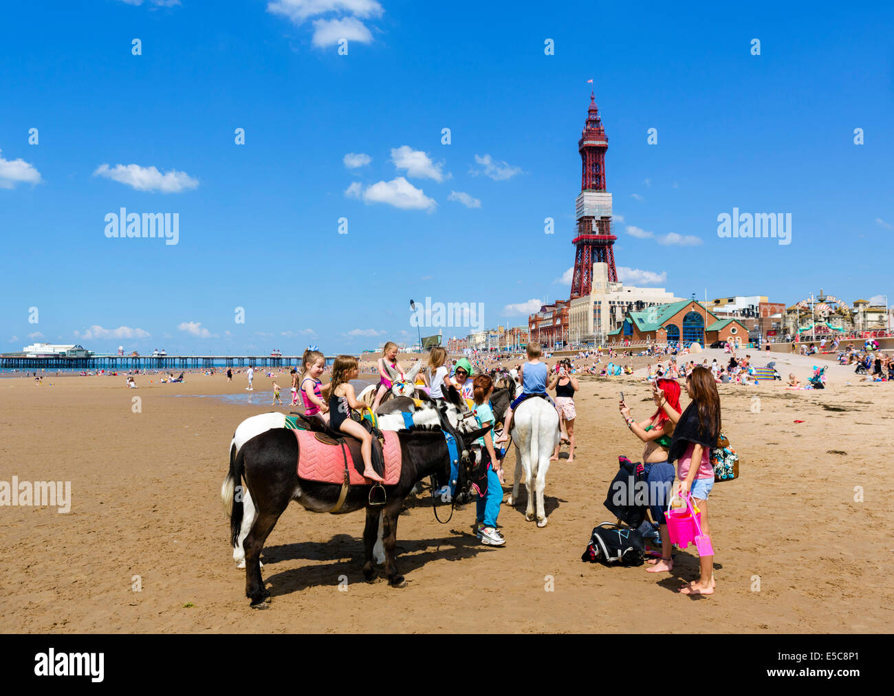 Donkey rides on the beach looking towards North Pier and Blackpool Tower, The Golden Mile, Blackpool, Lancashire, Stock Photo
