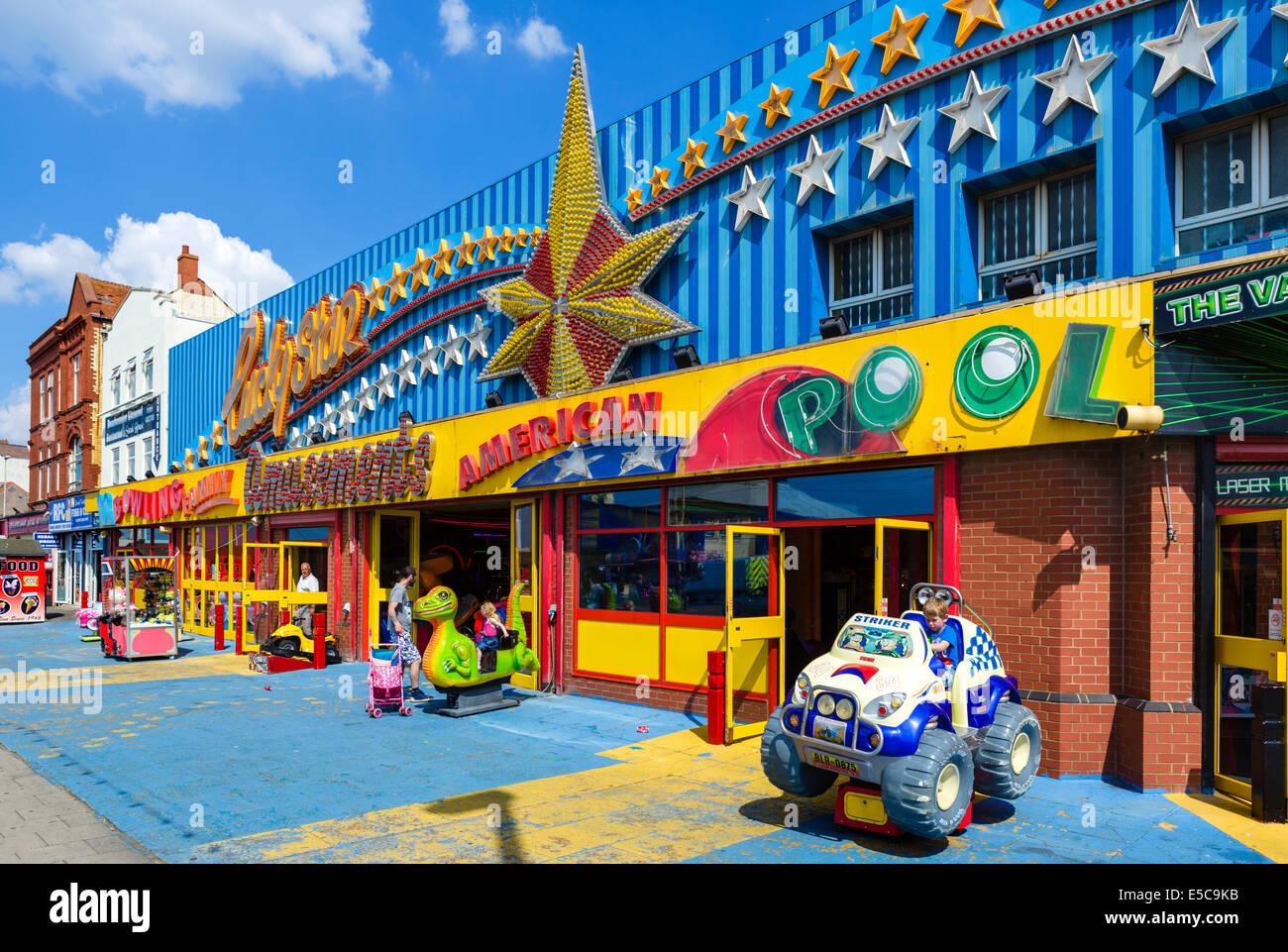 Amusement arcade on the promenade by South Pier, Blackpool, Lancashire, UK - Stock Image