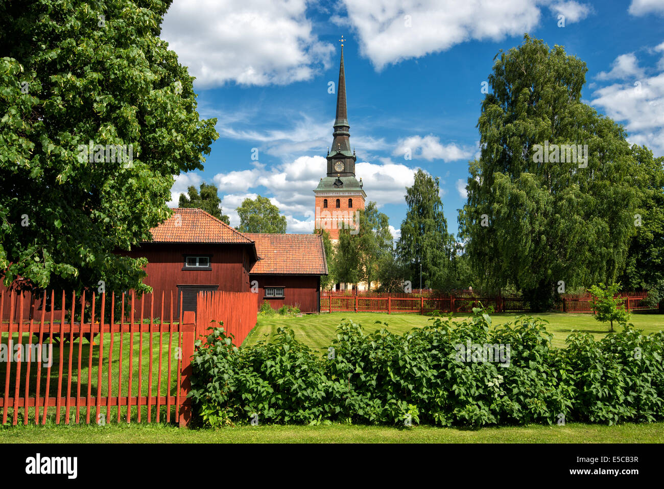 A summer day in early July in Mora in the Swedish folklore district Dalecarlia - Stock Image