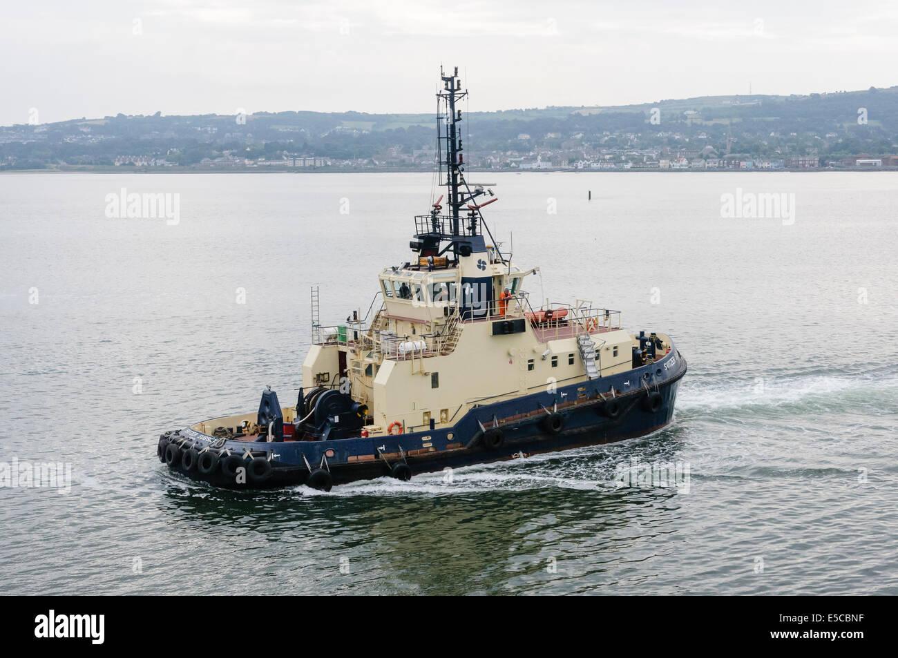 Belfast, Northern Ireland. 26/07/2014 - Tugboat 'Svitzer Sussex' in Belfast Lough. Credit:  Stephen Barnes/Alamy - Stock Image