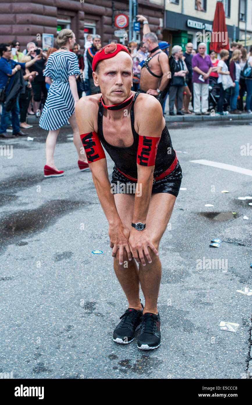 Stuttgart, Germany - July 26, 2014:  A participant of Christopher Street Day (CSD) parade posing appropriately dressed - Stock Image