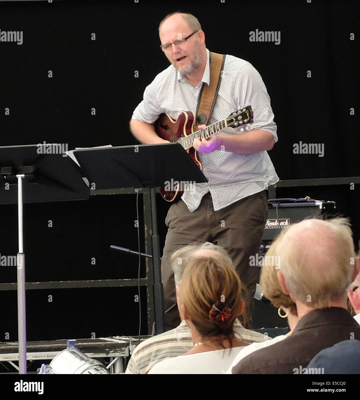 27the July 2014 Manchester Festival World respected guitarist Mike Walker entertains an appreciative audience on - Stock Image