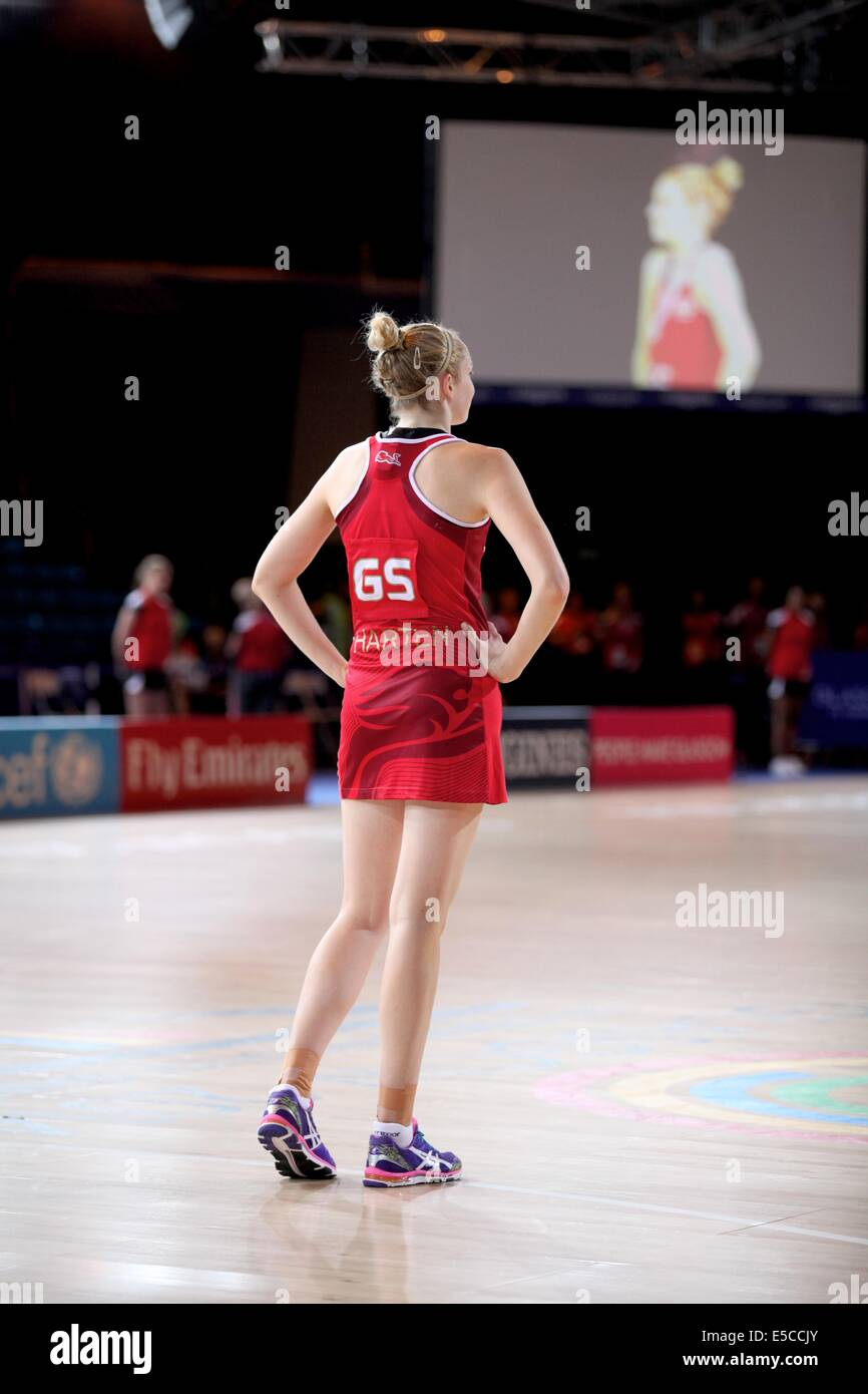 Glasgow, Scotland, UK. 27th July 2014. Commonwealth Games day 4. Netball - England v South Africa in the preliminary - Stock Image